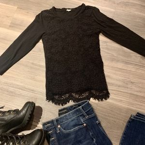 J. Crew Black Lace Front 3/4 Sleeved Top